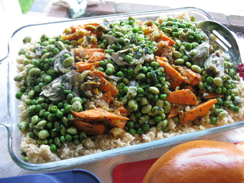 Couscous with Spring Vegetables and Sweet Potato Salad