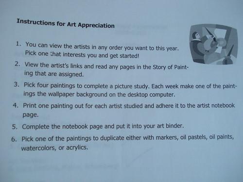 Art Appreciation Instructions