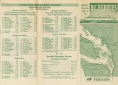 BC Ferry Schedule 1965