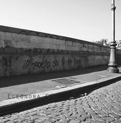 Roma - Il poeta sei tu che leggi. ([ ♥ ] R di Rimmel) Tags: street light bw italy white black rome roma muro wall canon monocromo strada italia bn vaticano writer write bianco nero luce scrivere scritta dettaglio eos350