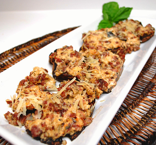 Cheese & Sausage Stuffed Mushrooms