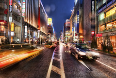 Ginza, Tokyo in the Rain (Stuck in Customs) Tags: world city travel urban building wet glass rain japan architecture skyscraper buildings shopping photography tokyo ginza blog high sapporo colorful asia downtown cityscape traffic dynamic stuck market dusk rainy photograph boutique april metropolis   nightlife posh prefecture range shining metropolitan hdr trey chuo travelblog customs 2010 luxurious highend upscale mikimoto   tky ratcliff ch tkyto hdrtutorial stuckincustoms chku treyratcliff photographyblog stuckincustomscom loccitane nikond3x specialward ginzacore nijsanku  tokubetsuku ginzaatdusk