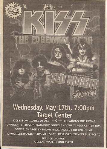 05/17/00 Kiss/Ted Nugent/Skid Row @ Minneapolis, MN (Ad)