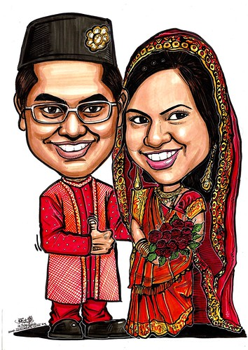 Indian wedding couple caricatures A3