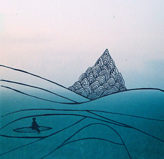 Horse feathers (Maddie Joyce) Tags: ocean sea colour art film illustration pen ink island photo still break drawing wave calm line tropical sufer lull themagicbus wwwthemagicbuscollectivecom maddiejoyce