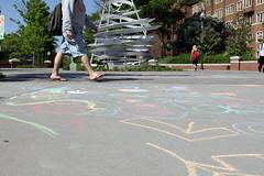 Public Art and Public Art (Wyoming_Jackrabbit) Tags: statue campus children chalk ut colorful university knoxville drawing sidewalk doodle walkway ugly publicart scribble whirlwind universityoftennessee pedestrianwalkway astartlingwhirlwindofopportunity
