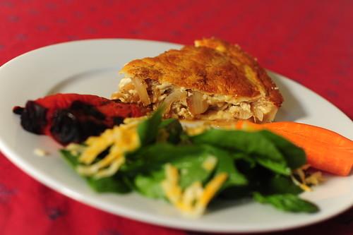 Onion Tart, Roasted Peppers, Salad