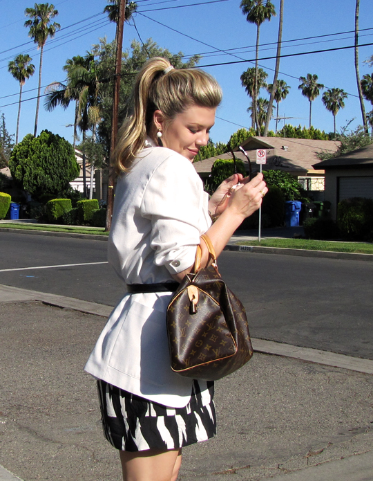 black and white tribal dress+white blazer-5-1