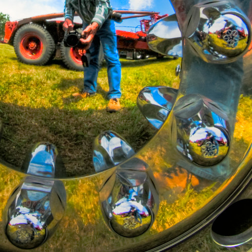 truck wheel reflections