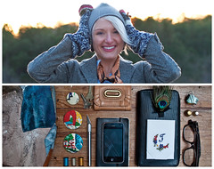 Julia Diptych (J Trav) Tags: portrait moleskine thread persona glasses diptych wallet buttons feather thimble purse essential whatsinyourbag measuringtape iphone hankerchief exacto nikond90 pouchette theitemswecarry