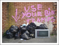 use_your_bin_tramps (blueboy_communications) Tags: pink television back tv crt garbage paint widescreen bin brickwall lane graffitti rubbish friendly sunderland liner useful liners millfield useyourbintramps