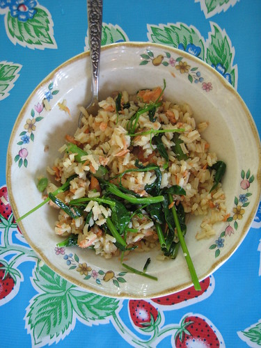 fried rice with salmon, asparagus, pea vines