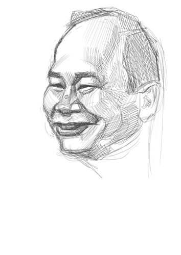 digital sketch of John Woo - 2