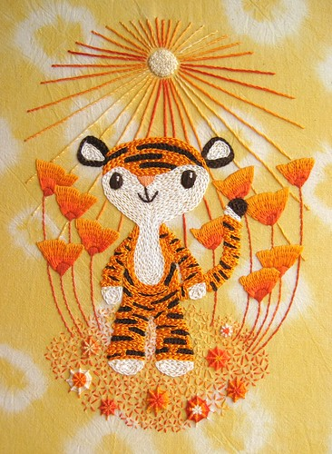 Little Tiger's Orangey Celebration embroidery