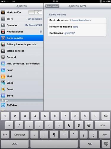 Configuración iPAD 3G Telcel