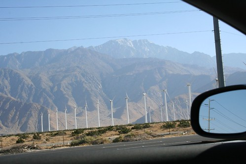 it's 100+ degrees on the wind farm, but there's snow on the mountains