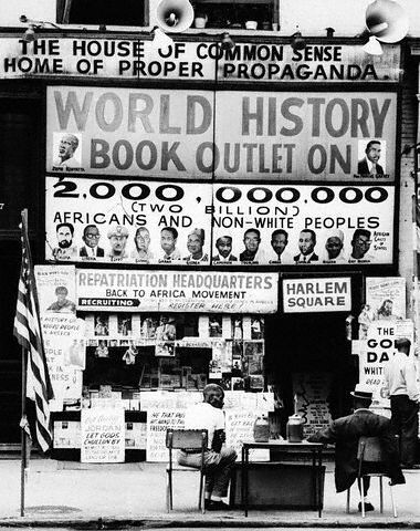 """Lewis Michaux's House of Common Sense and Home of Proper Propaganda,"" 1964. (Courtesy of Bettmann / CORBIS)"