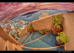 190/365 - HDR - Santorini.II.@.1150x765 (Pawel Tomaszewicz) Tags: camera new light shadow sky holiday fish streets eye colors architecture clouds photoshop canon lens island greek photography eos photo europe foto view angle wide creative kreta wideangle ps hobby fisheye santorini greece fotografia hdr oia cyclades fable thira hdri fira aparat pawel wakacje  architektura  chmury 3xp photomatix   odpoczynek greatphotographers kyklades wyspa  400d wyspy eos400d 1200x800 fotografowie polscy cyklady  santoryn tomaszewicz paweltomaszewicz ceclades