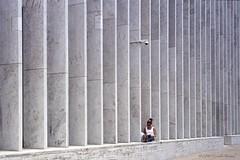 The Secure Reader (CVerwaal) Tags: nyc newyorkcity girls woman newyork architecture analog reading ishootfilm oldschool lincolncenter olympus35rc kodakportra400nc