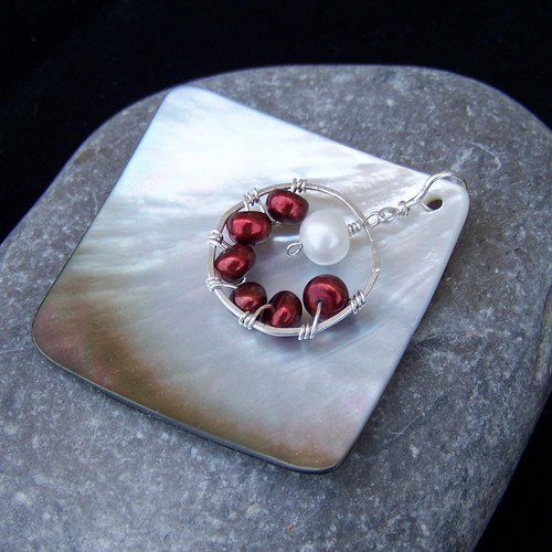 Argentium sterling silver, red and white pearl and abalone shell pendant