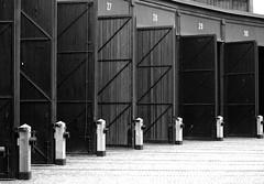 Railway Roundhouse ~ Toronto (Sally E J Hunter) Tags: railroad toronto blackwhite noiretblanc historical roundhouse moo1 55200mmf456 johnstreetroundhouse topwqq