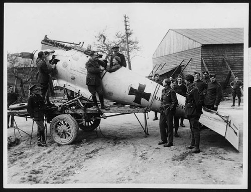 Newly captured German machine at a Flying Corps depot near the front