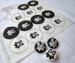 Goth Bunny Fabric Buttons