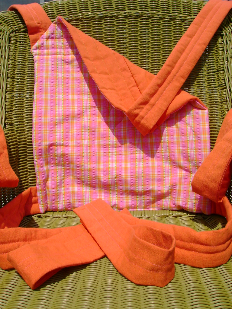 2-A)Orange and pink/green/white seersucker baby sling(3 available)