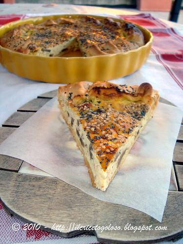 Torta salata prosciutto, funghi e ricotta