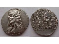 Phraates III drachm (Baltimore Bob) Tags: old money silver persian coin ancient iraq persia parthian baquba parthia drachm arsacid arsakid artemita