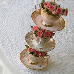 """flower tower DIY floral centerpiece of vintage china (highteaforalice) Tags: china new pink wedding roses party england flower detail tower english floral cake set modern vintage garden shower gold idea for diy stand high european afternoon display tea recycled handmade antique alice fine ivory royal style jewelry spray stack cups cupcake vase tray handcrafted heirloom british bone plates trend dishes mad bridal custom centerpiece gilded arrangement couture royalty whimsical tier hatter saucers gilt ecofriendly tableware tiered coalport upcycled """"queen hearts"""" colclough """"alice wonderland"""""""
