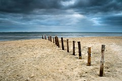 "beach stakes (D.Reichardt) Tags: longexposure beach lines clouds landscape denmark europe northsea stakes piles römö ""flickraward"""