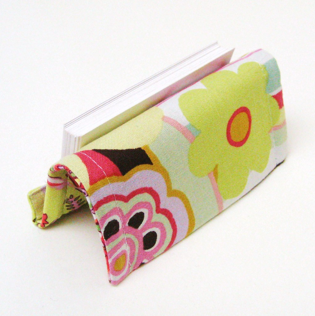 BUSINESS CARD HOLDER or STAND REVERSIBLE Floral Pastels in Yellow Pink and Blue