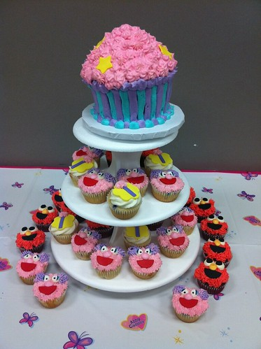 Abby Cadabby cupcake tower with Elmo