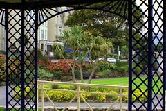 Bandstand view (* RICHARD M (Over 5 million views)) Tags: flowers palms wroughtiron arches palmtrees devon metalwork vegetation hotels framing bandstand ilfracombe northdevon yukka jubileegardens