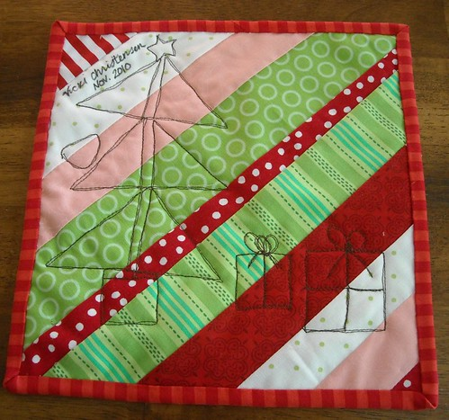 back of Christmas mini-quilt
