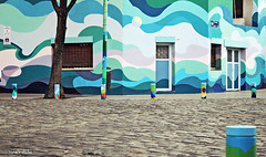 Buenos Aires corner (nina's clicks) Tags: blue house corner buenosaires cobblestone lilac esquina bollards empedrado bolardos ninasclicksnovember
