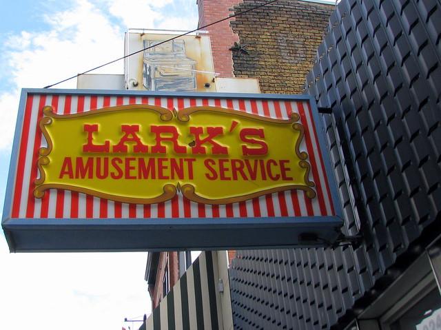 Lark's Amusement Service sign