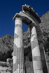 Delphi (Shawn Blanchard) Tags: greece greek delphi temple blue color architecture history sky green gray grey relic ancient marble rock mountains landscape europe apollo archaeological site ruins building art sanctuary