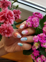 kira kira ombre (machan) Tags: nails manicure ネイル キラキラ 可愛い 女子力 花 ピンク flowers pink cute girly
