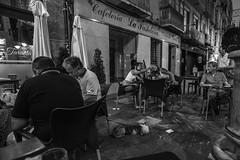 Cafe culture...... (Dafydd Penguin) Tags: cafe culture street selfie girls bar tapas restaurant night shots candid pavement after dark urban city life blackandwhite black white bw blackwhite monochrome nikon d610 nikkor 20mm af f28d