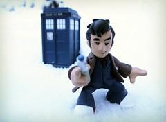Doctor Who & the Tardis (R D L) Tags: winter snow toys model edinburgh december princesstreetgardens doctorwho tardis 2009 10thdoctor timesquad