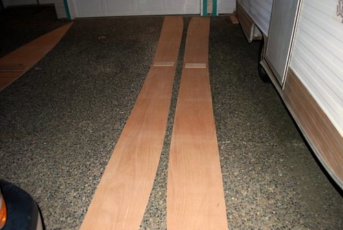 The finished bottom panel for the plywood Quick Canoe.  Elapsed time to mark and join the panels ... 65 minutes.