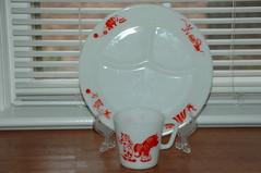 Circus plate and mug (the_robins.nest) Tags: red white elephant kitchen vintage monkey circus clown lion plate tent retro seal mug pyrex opalglass