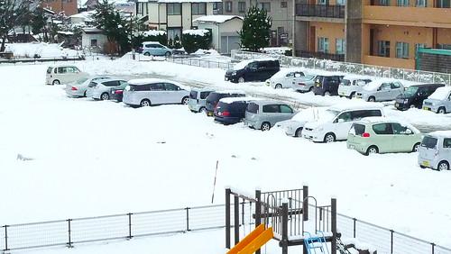1月3日、雪積もる