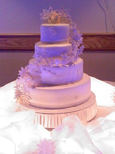 snowflake wedding cake at night!