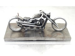 Metal Harley Panhead  sculpture