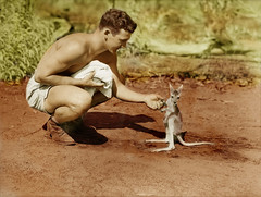 An American soldier with a joey, 1942 - coloured