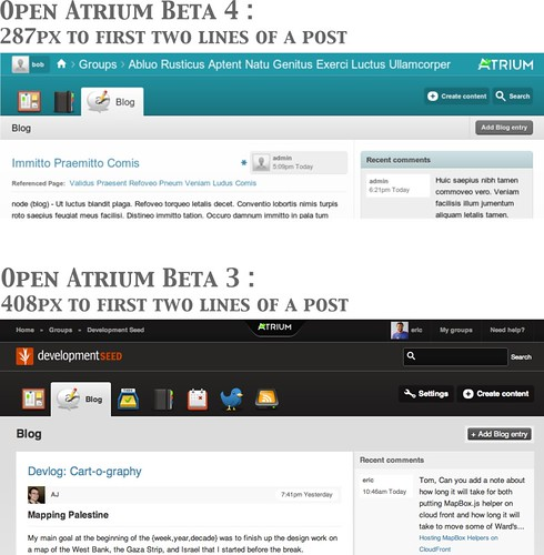 Open Atrium Beta 4 header UI improvements