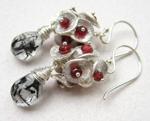 Rutilated Quartz and Garnet Sterling Earrings